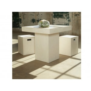 Modrest Yem Ivory Concrete Square Dining Table