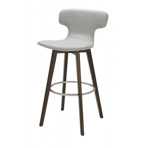 Modrest Zach Modern Grey Eco-Leather Bar Stool