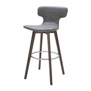 Modrest Zach Modern Dark Grey Eco-Leather Bar Stool
