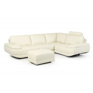 Divani Casa Nelson Modern White Leather Sectional & Ottoman
