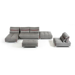 David Ferarri Zip Modern Grey Fabric Sectional Sofa