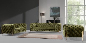 Divani Casa Sheila Modern Green Fabric Sofa Set