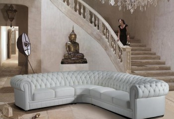 Divani Casa  Paris 1 - Transitional Tufted Leather Sectional Sofa