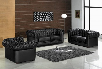 Divani Casa Paris Transitional Tufted Leather Sofa Set