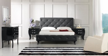 Modrest Monte Carlo - Black Leatherette Modern Bed with Crystals