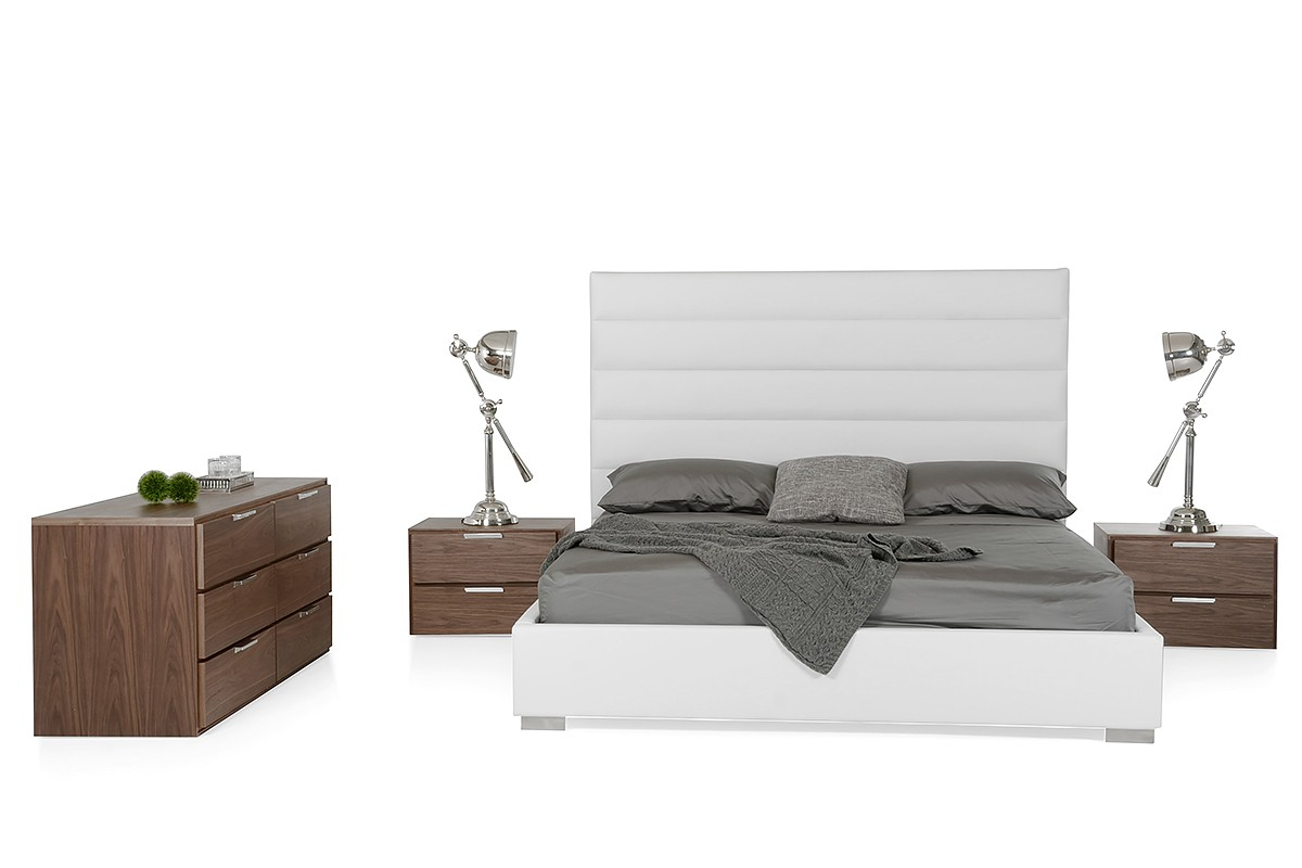 Modrest Kasia Modern White Leatherette Bed Modern Bedroom Bedroom