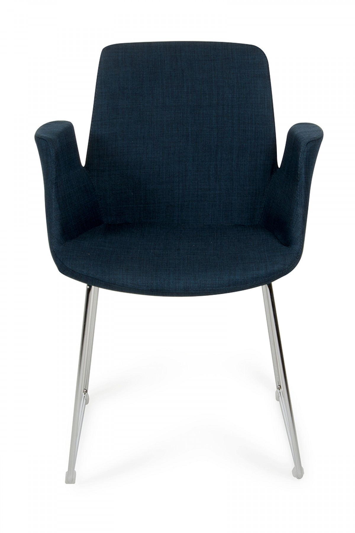 Modrest altair modern blue fabric dining chair for Contemporary fabric dining chairs