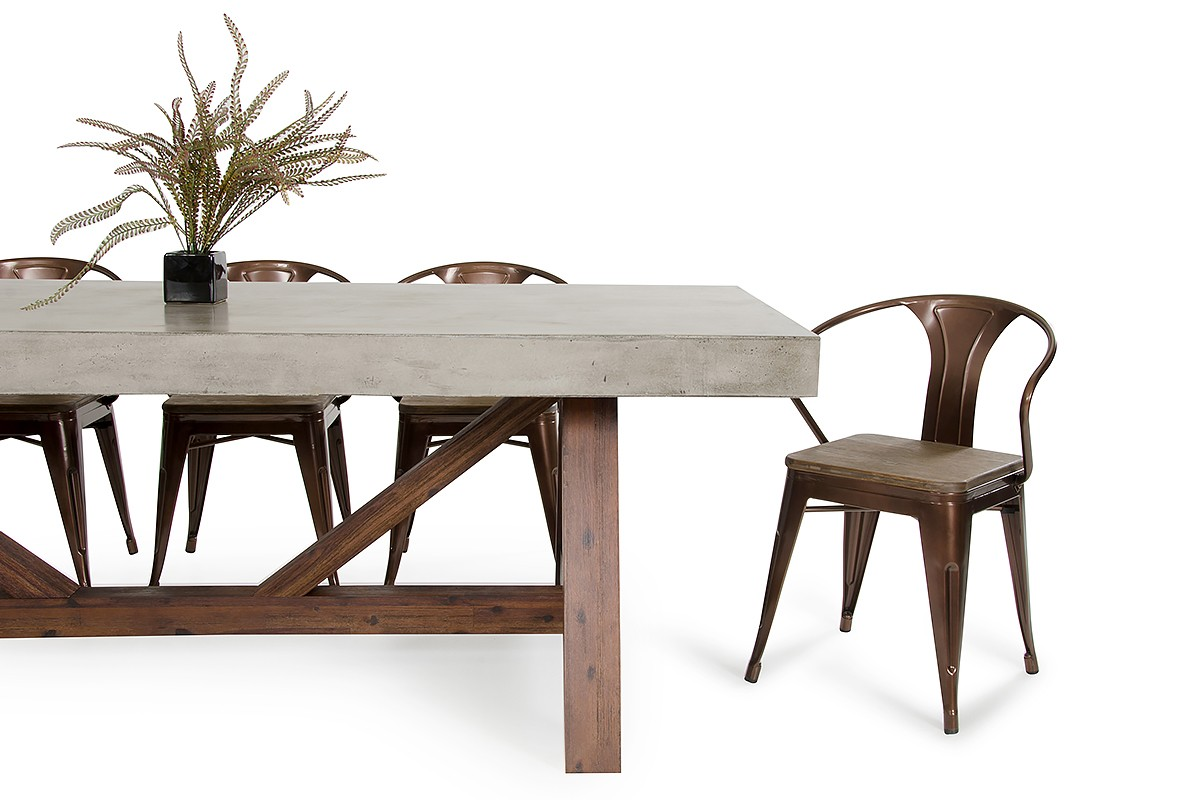 Modrest Revok Modern Concrete Amp Acacia Dining Table