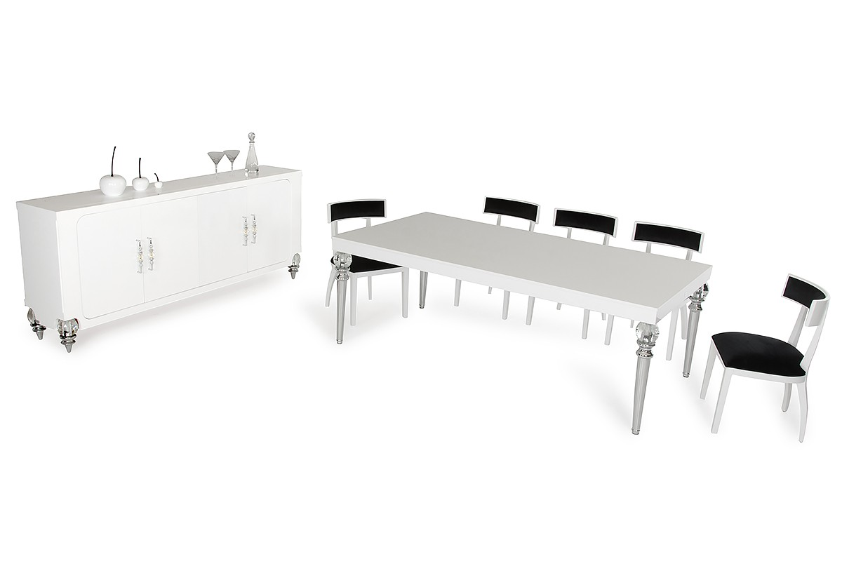 AampX Baccarat Transitional White Crocodile Dining Table