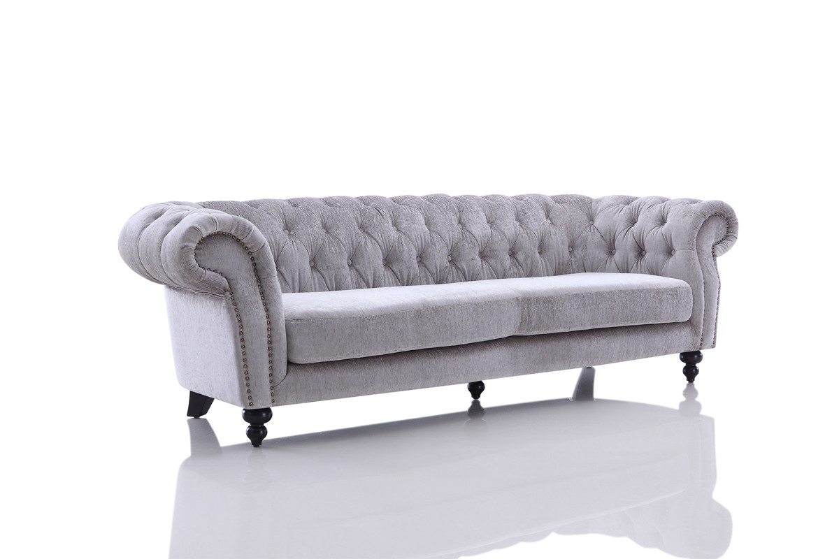 Divani casa alexandrina grey tufted fabric sofa set for Casas de sofas en montigala