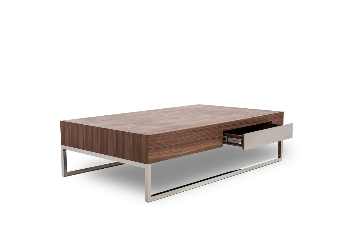Modrest agate modern walnut coffee table coffee tables for Modern living room no coffee table