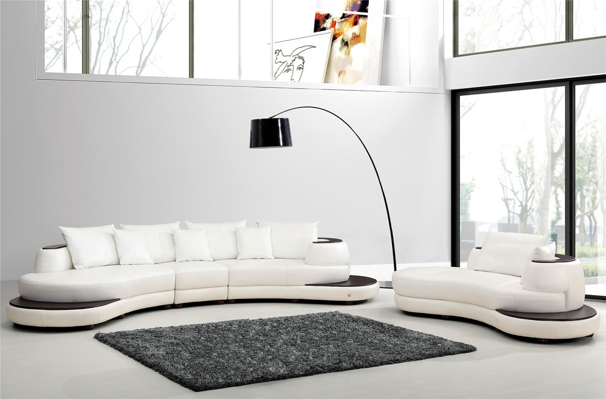 Divani Casa 109 Modern White Bonded Leather Sectional
