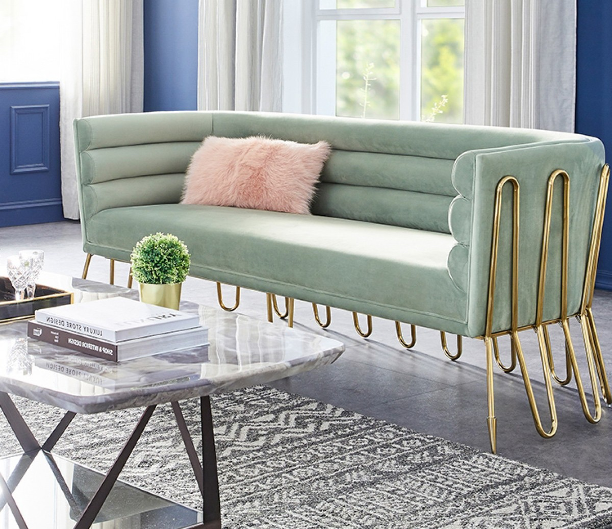 Divani Casa Bixby Modern Light Green Velvet Amp Gold Sofa