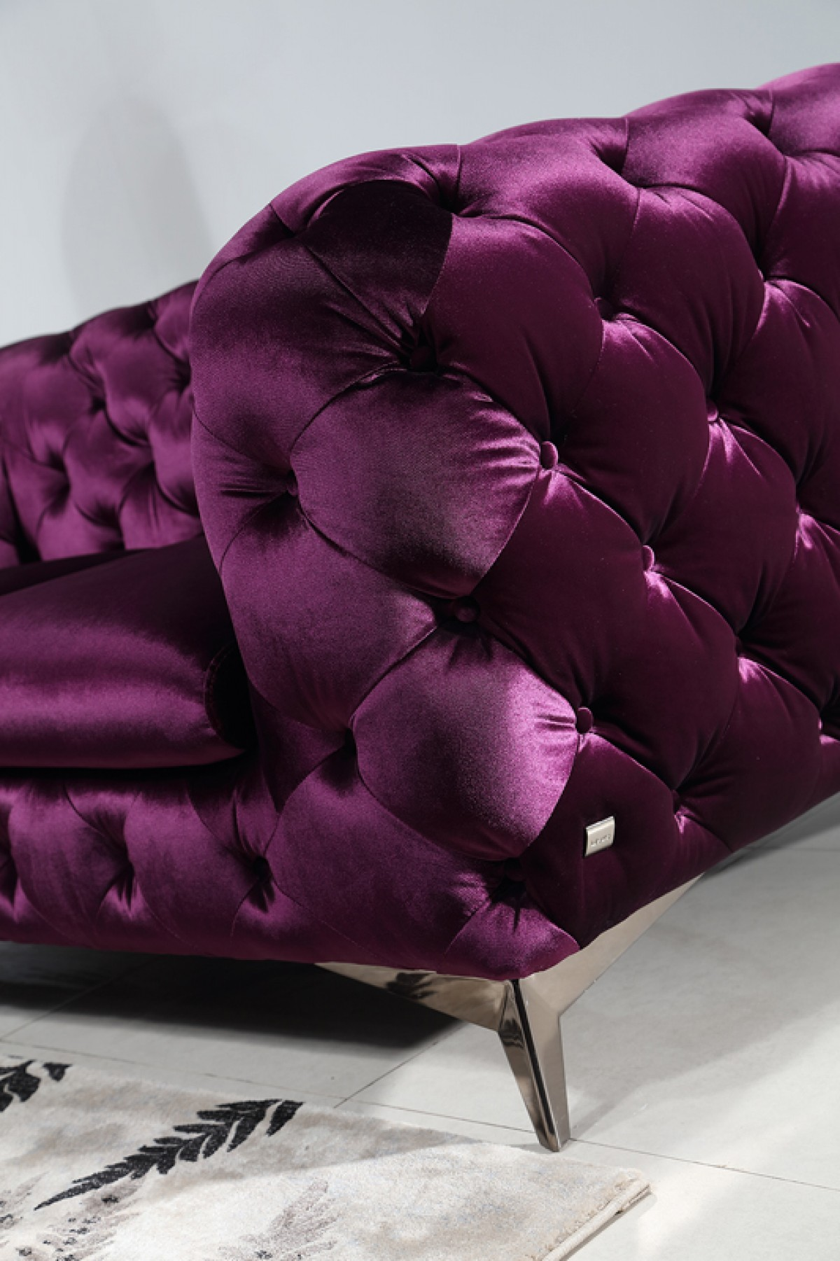 Divani Casa Delilah Modern Purple Fabric Sofa Set Sofas Living