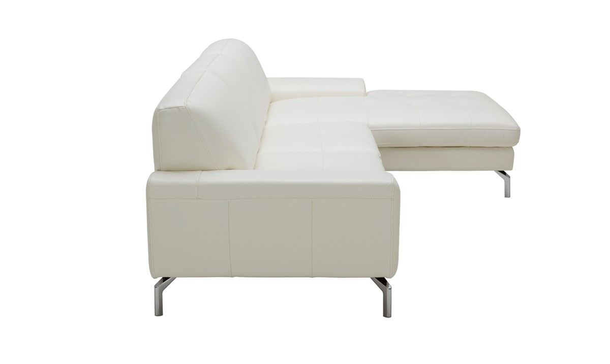 divani casa tansy modern white leather sectional sofa with chaise