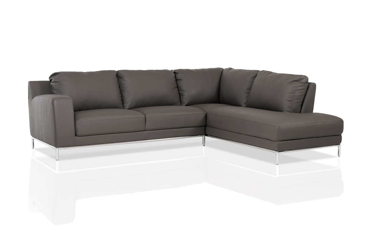 divani casa primrose modern grey eco leather sectional sofa w right facing chaise. Black Bedroom Furniture Sets. Home Design Ideas