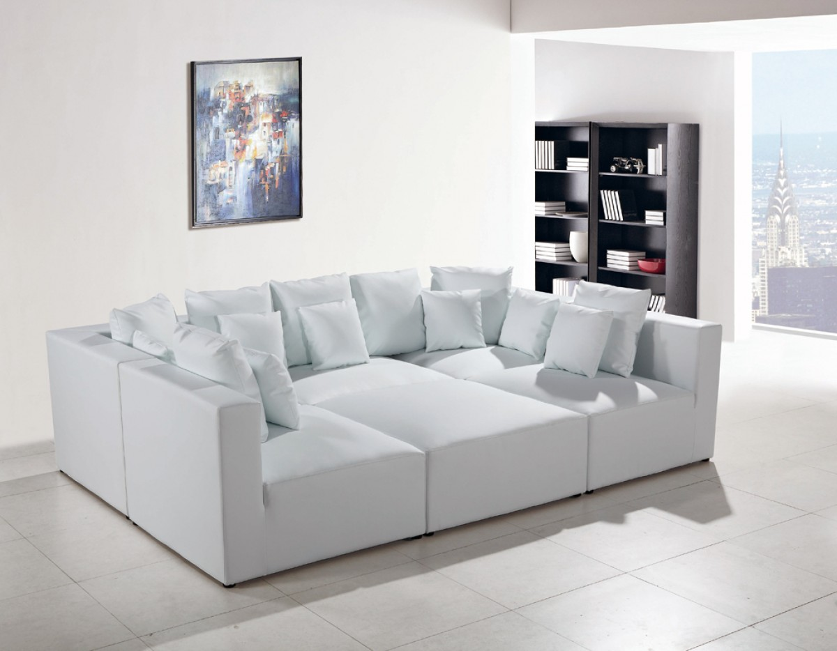 Divani casa 206 modern white bonded leather sectional sofa sofas living room - White contemporary sofa section for luxury room ...
