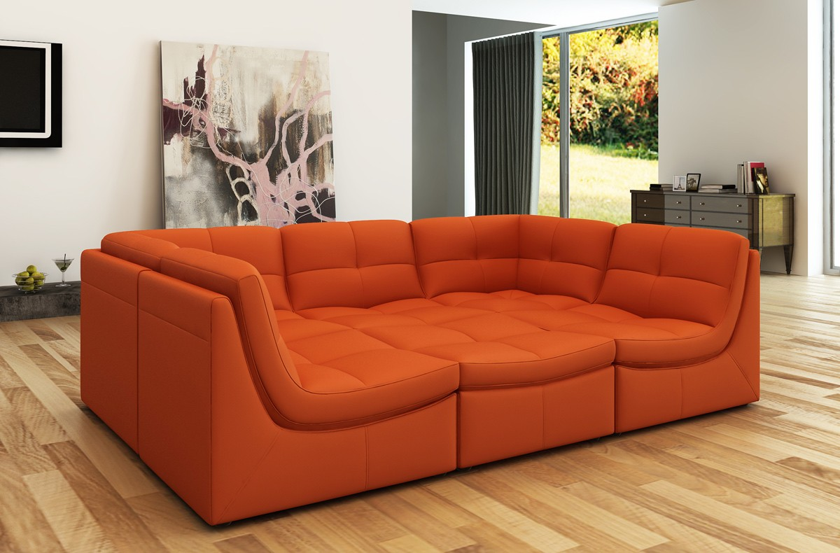 Divani casa 207 modern orange bonded leather sectional sofa for Sofa orange