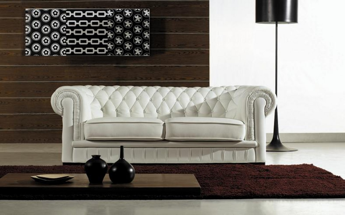 Paris ultra modern white living room furniture sofa sets - Divani Casa Paris Transitional Tufted Leather Sofa Set Special Order Cat B