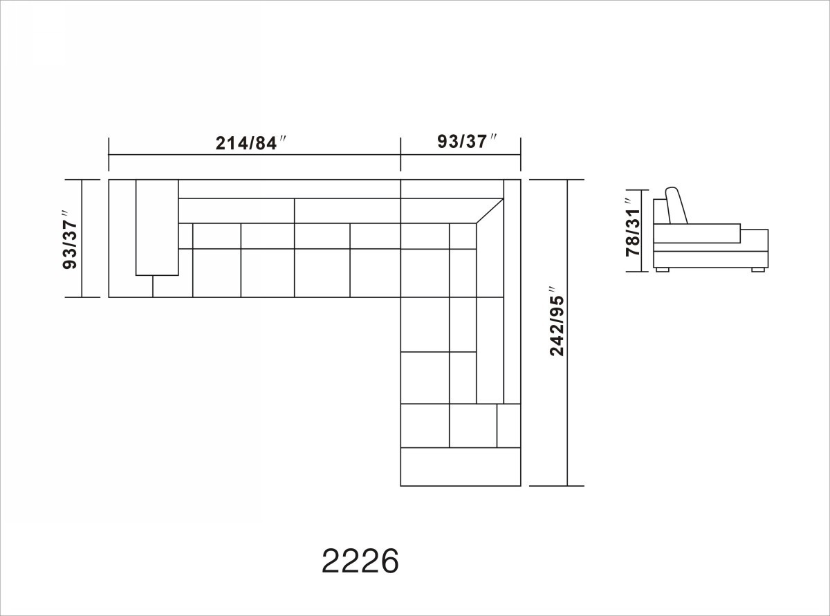 sc 1 st  VIG Furniture : dimensions of sectional sofa - Sectionals, Sofas & Couches