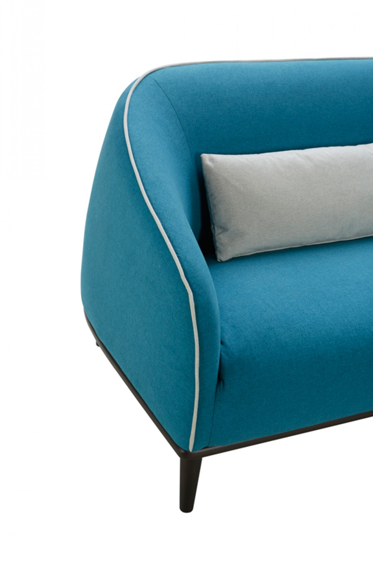Divani casa amisk modern teal grey fabric sofa chair set for Grey sofa and chair