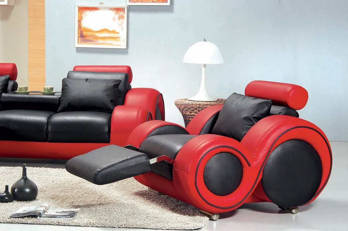 Contemporary Black And Red Sofa Set