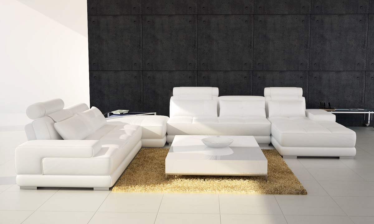 Divani Casa Phantom Modern White Leather Sectional Sofa w ...