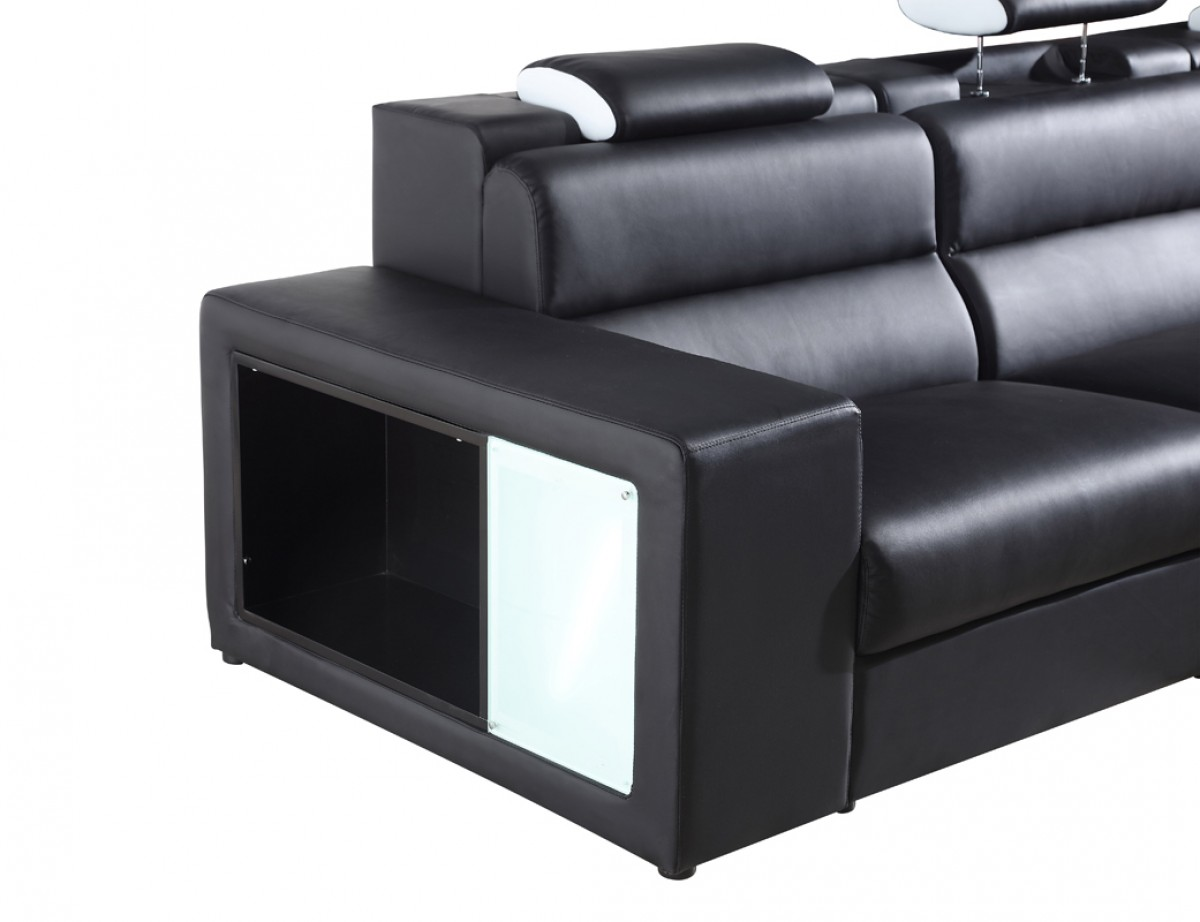 divani casa polaris mini contemporary bonded leather sectional sofa. Black Bedroom Furniture Sets. Home Design Ideas