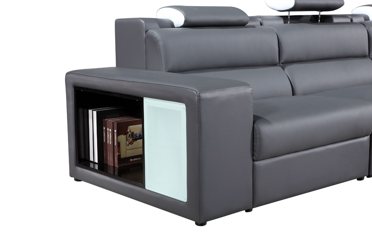 divani casa polaris mini contemporary bonded leather sectional sofa sofas living room. Black Bedroom Furniture Sets. Home Design Ideas
