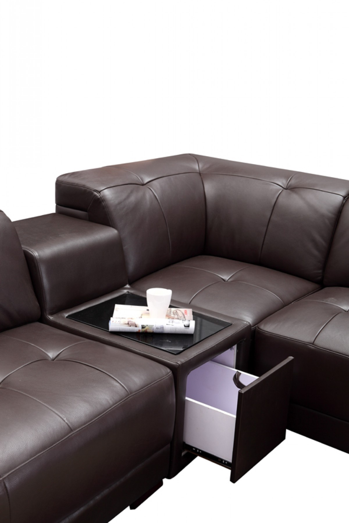 Divani Casa Dunkirk Modern Brown Leather Sectional Sofa