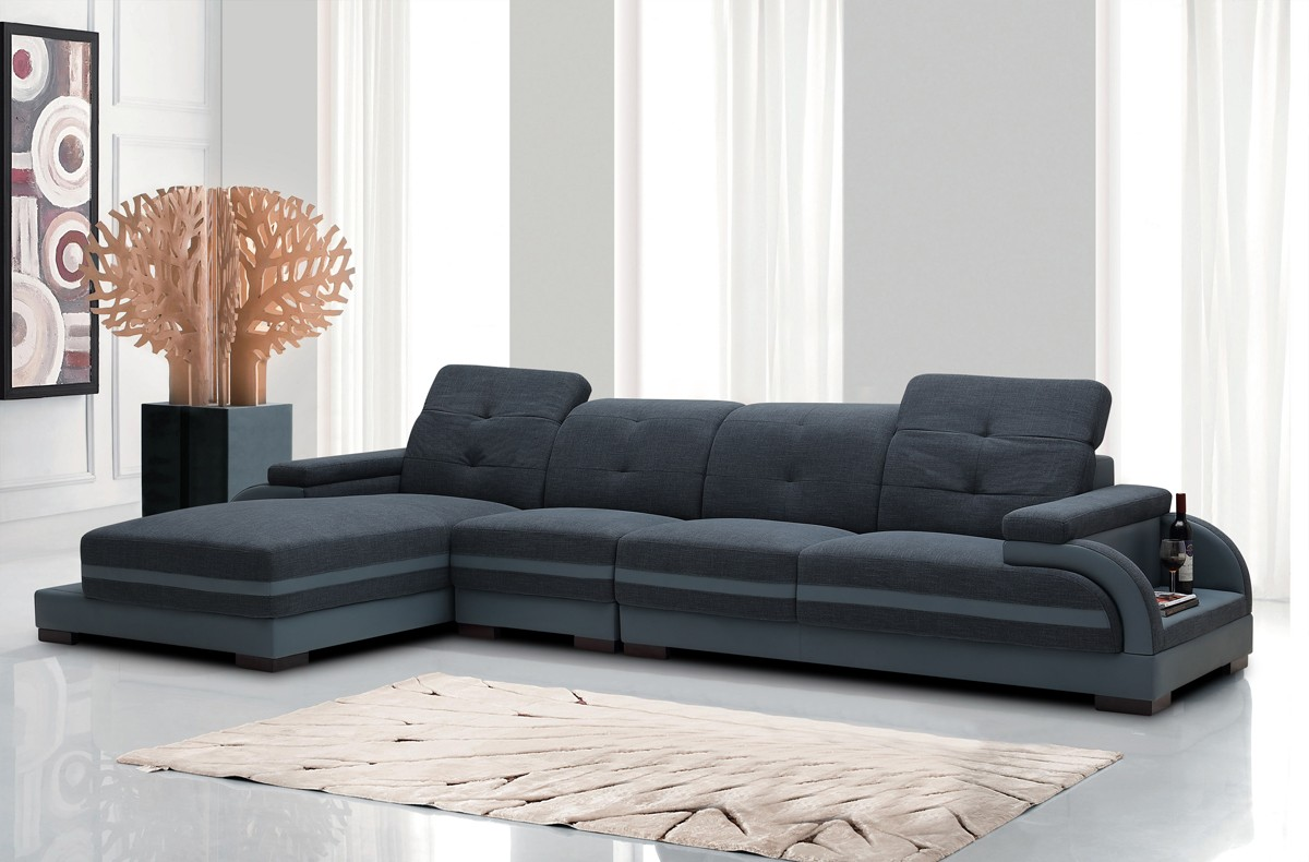 Divani Casa 5132 Modern Fabric Bonded Leather Sectional