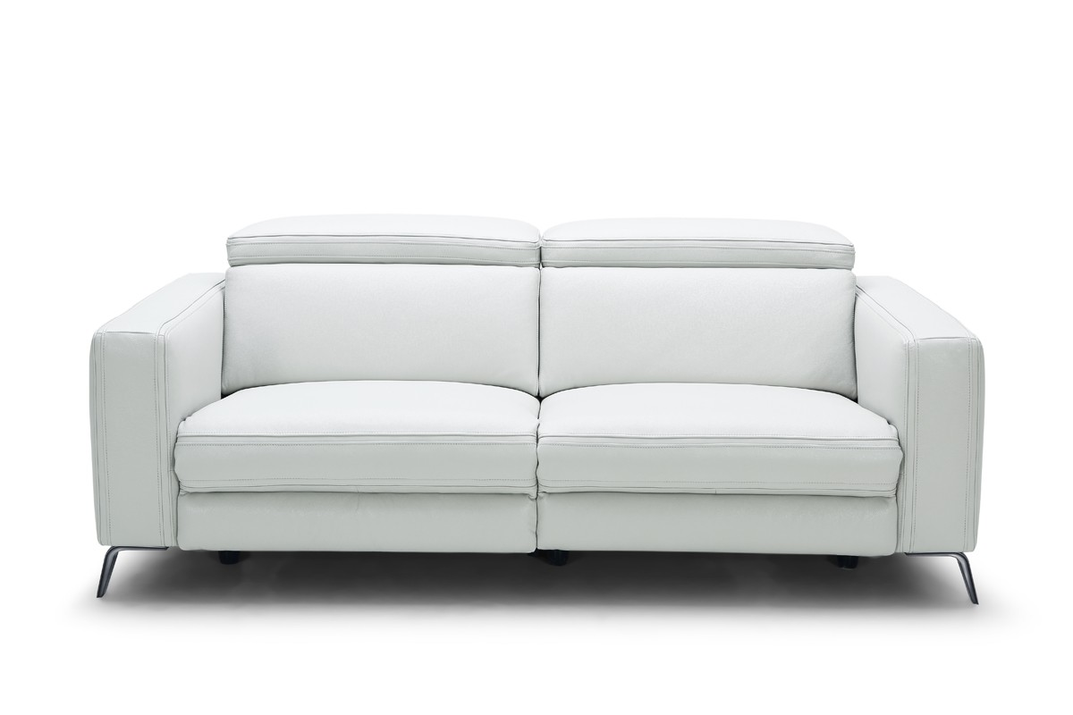 Divani Casa Mosley Modern White Leather Sectional Sofa W/ Recliner