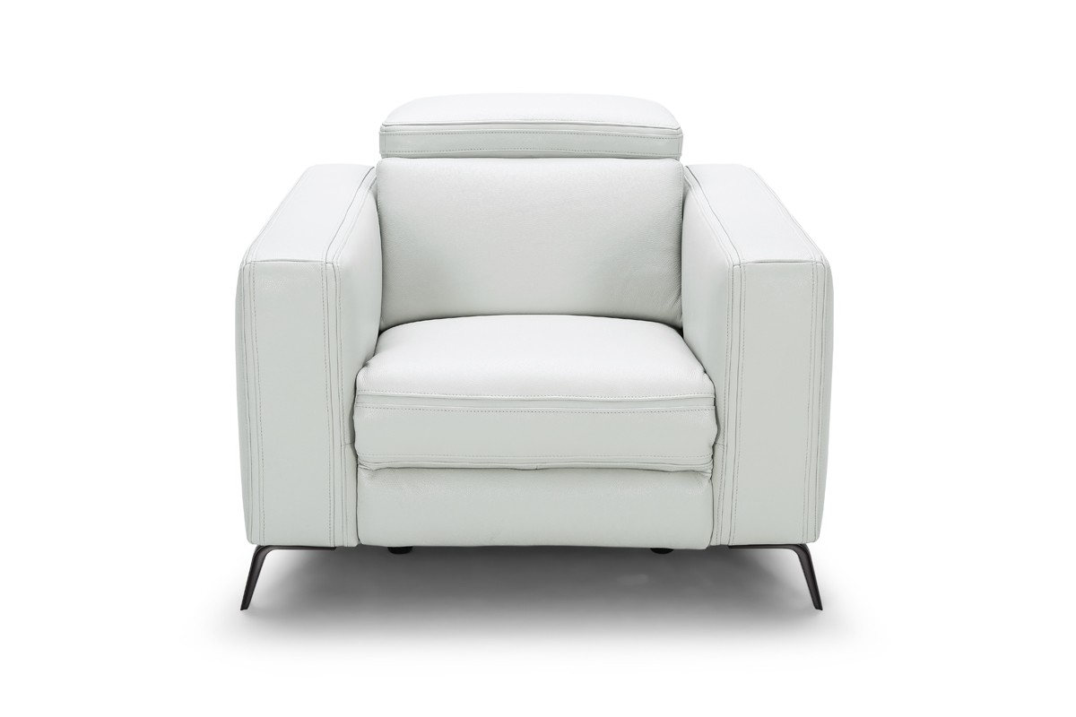 Divani casa roslyn modern white leather sofa set w for White divan chair