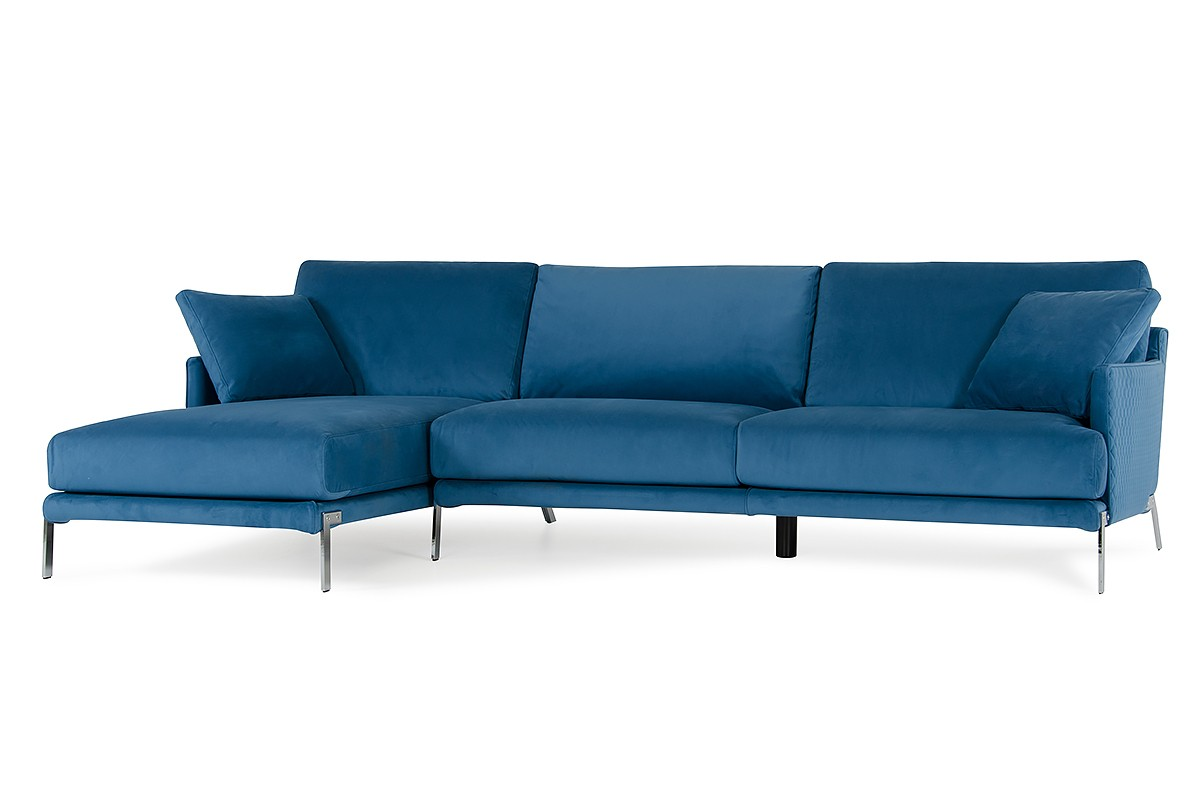 David Ferrari Achen Modern Blue Velvet Fabric Sectional Sofa   David  Ferrari Italian Sofas   Collections