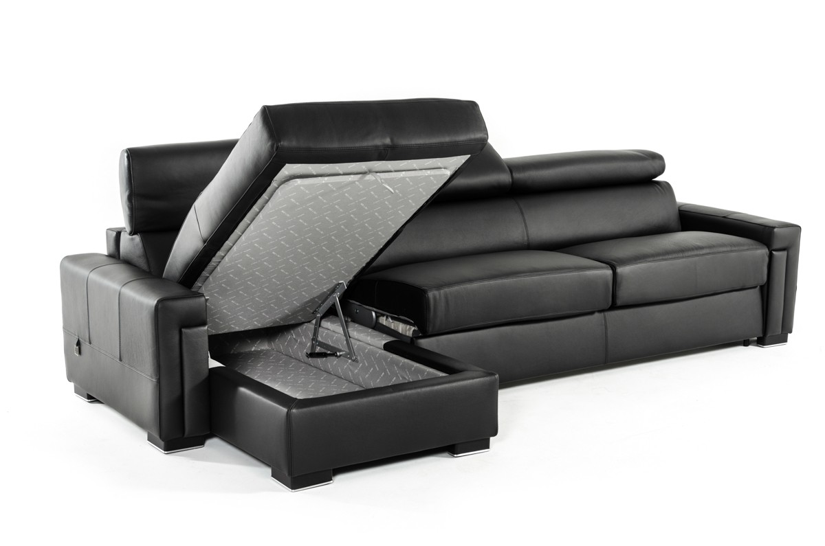 Estro Salotti Sacha Modern Black Leather Reversible Sofa