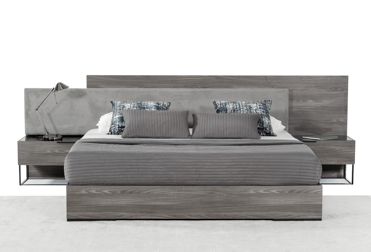 Nova Domus Enzo Italian Modern Grey Oak Amp Fabric Bed W