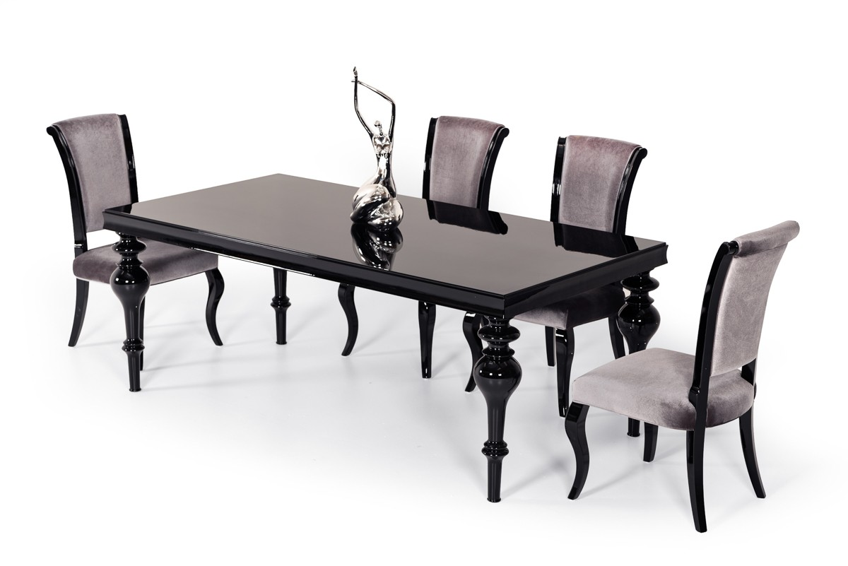 Modrest Nayri Transitional Black High Gloss Dining Table