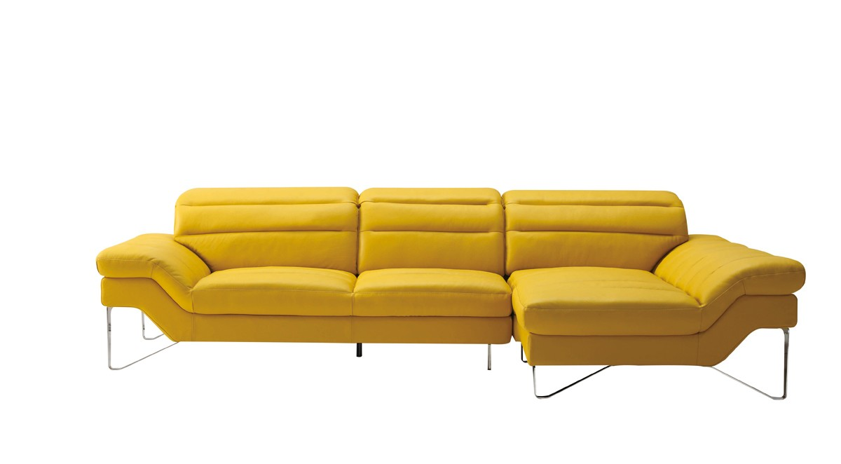 Divani Casa Leven Modern Yellow Leather Sectional Sofa