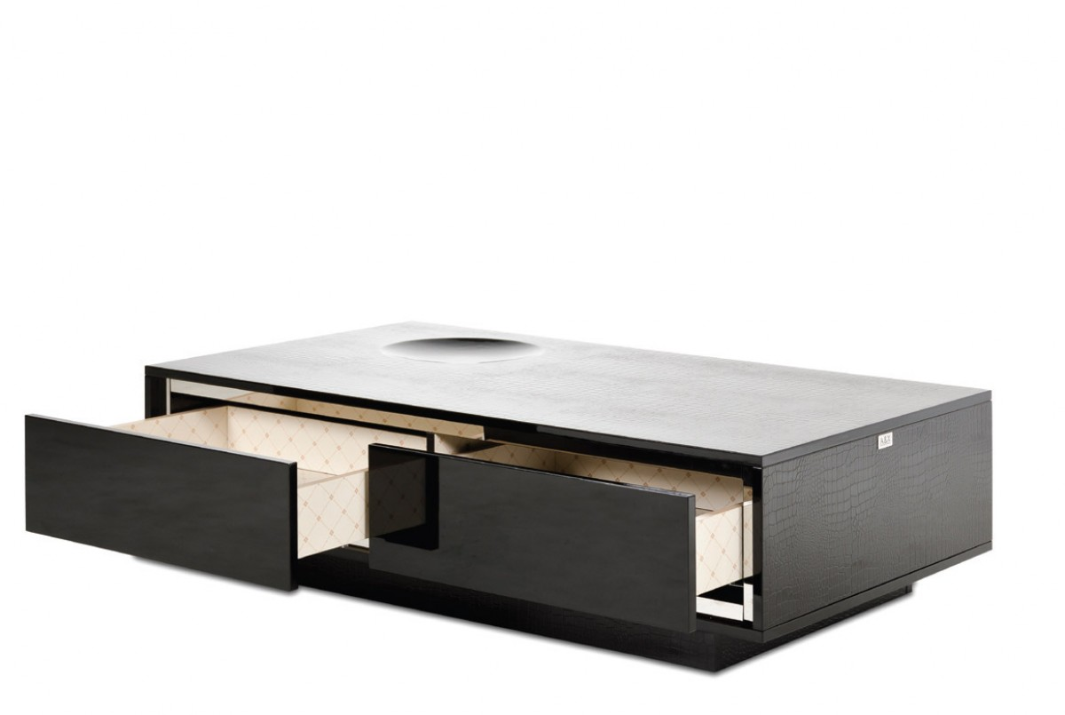 A X Grand Modern Black Crocodile Lacquer Coffee Table With Drawers