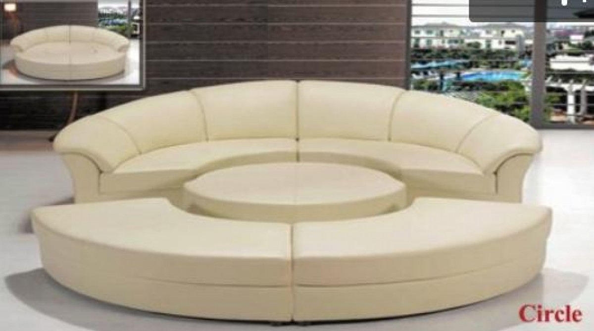 Divani Casa Circle Modern Bonded Leather Circular Sectional 5 Piece Sofa Set Sofas Living Room