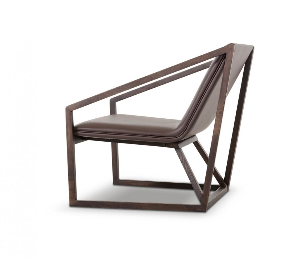 Divani casa taranto modern brown eco leather lounge for Chair design leather