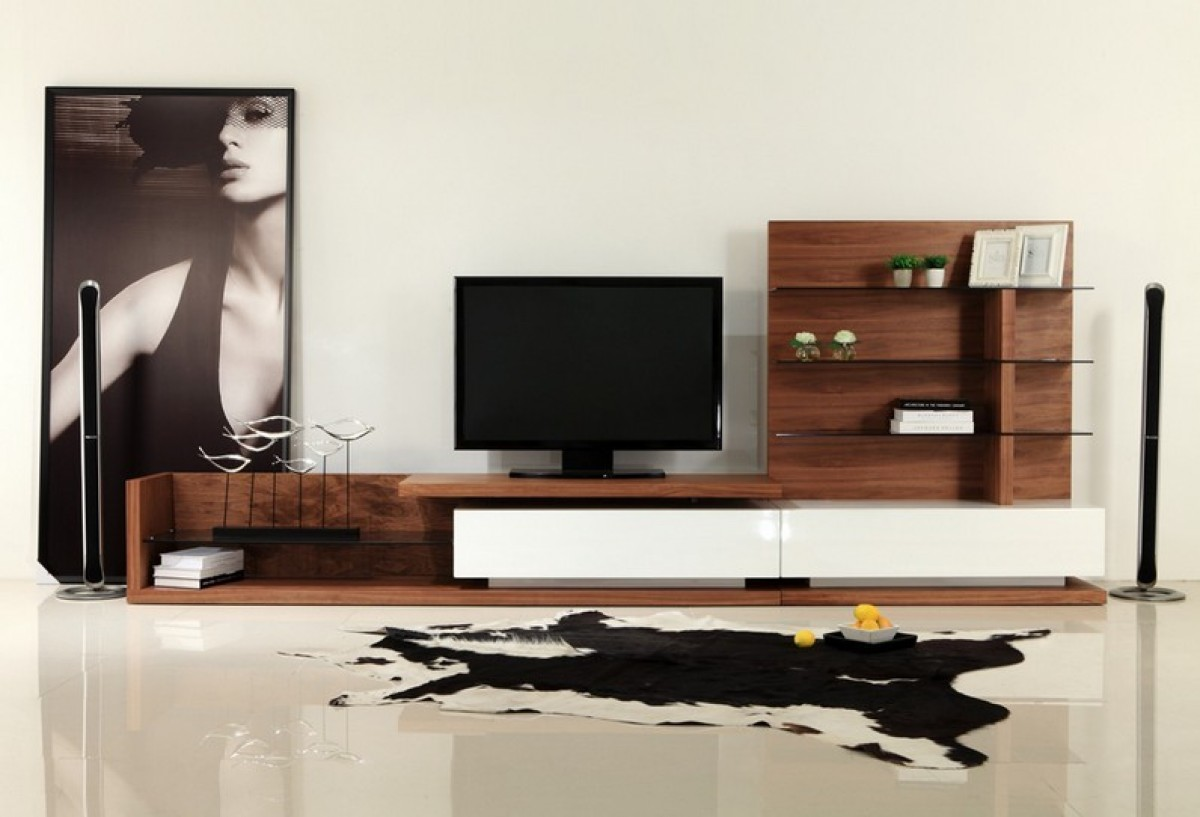 Modrest Jefferson Modern Walnut And White High Gloss Tv