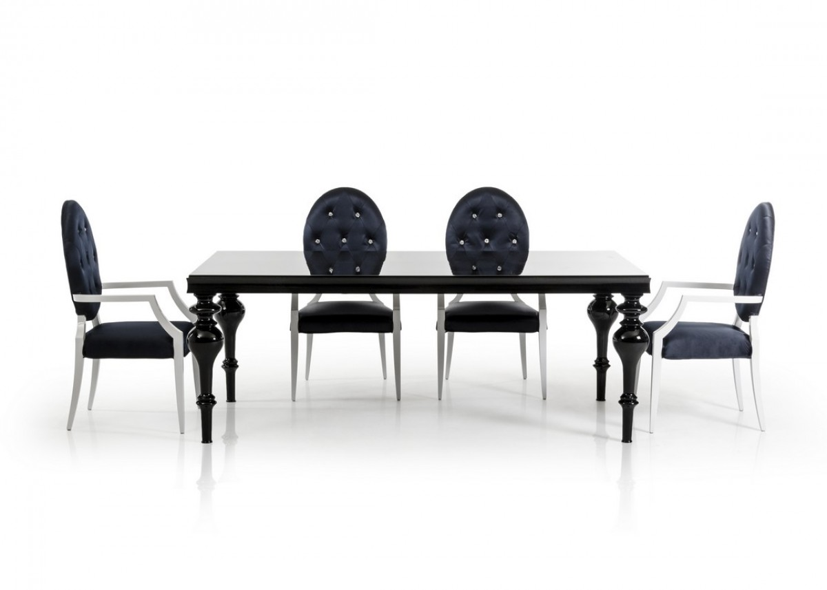 Versus bella transitional black dining table modern for Modern black dining table