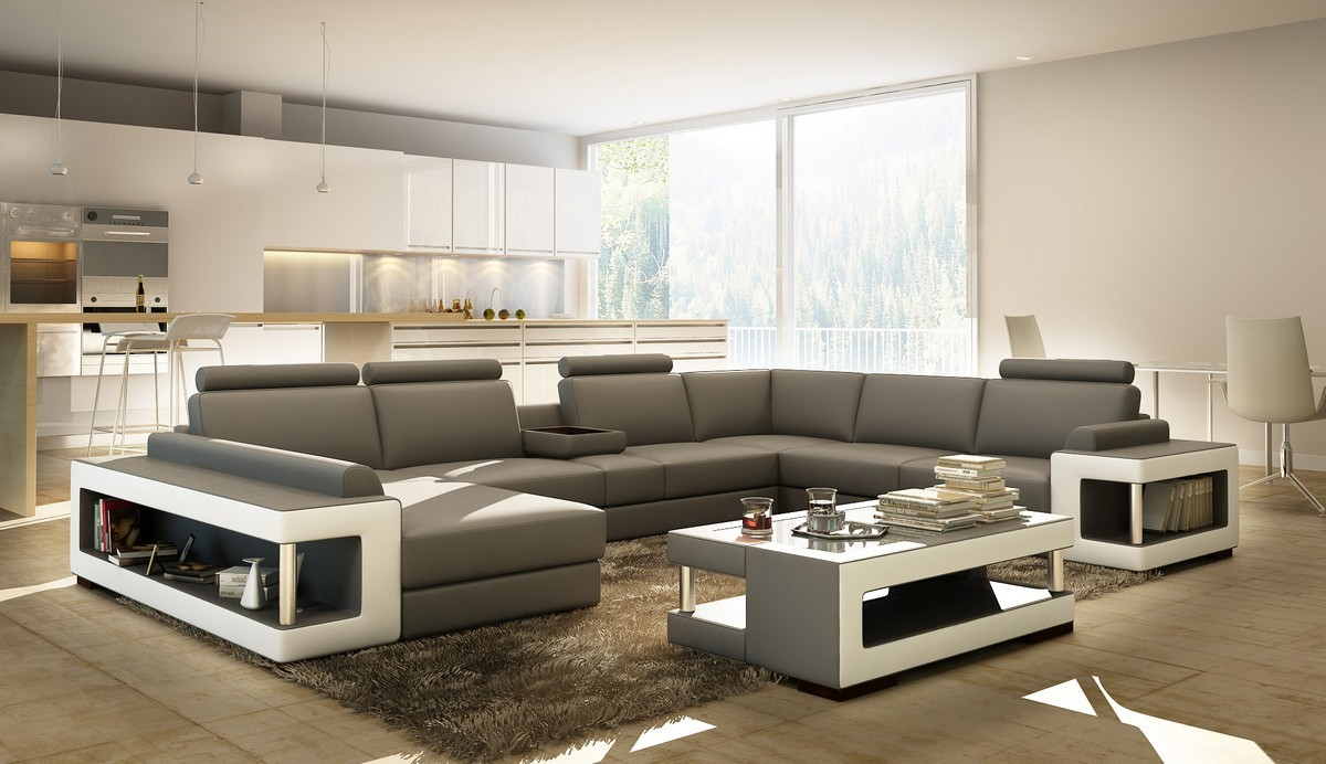 Divani Casa 5080 Grey And White Bonded Leather Sectional Sofa W Coffee Table