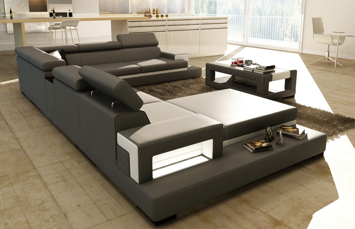 Divani Casa 5081 Grey And White Bonded Leather Sectional