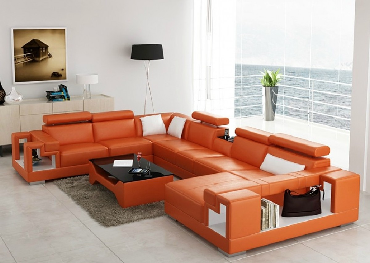 : orange leather sectional sofa - Sectionals, Sofas & Couches