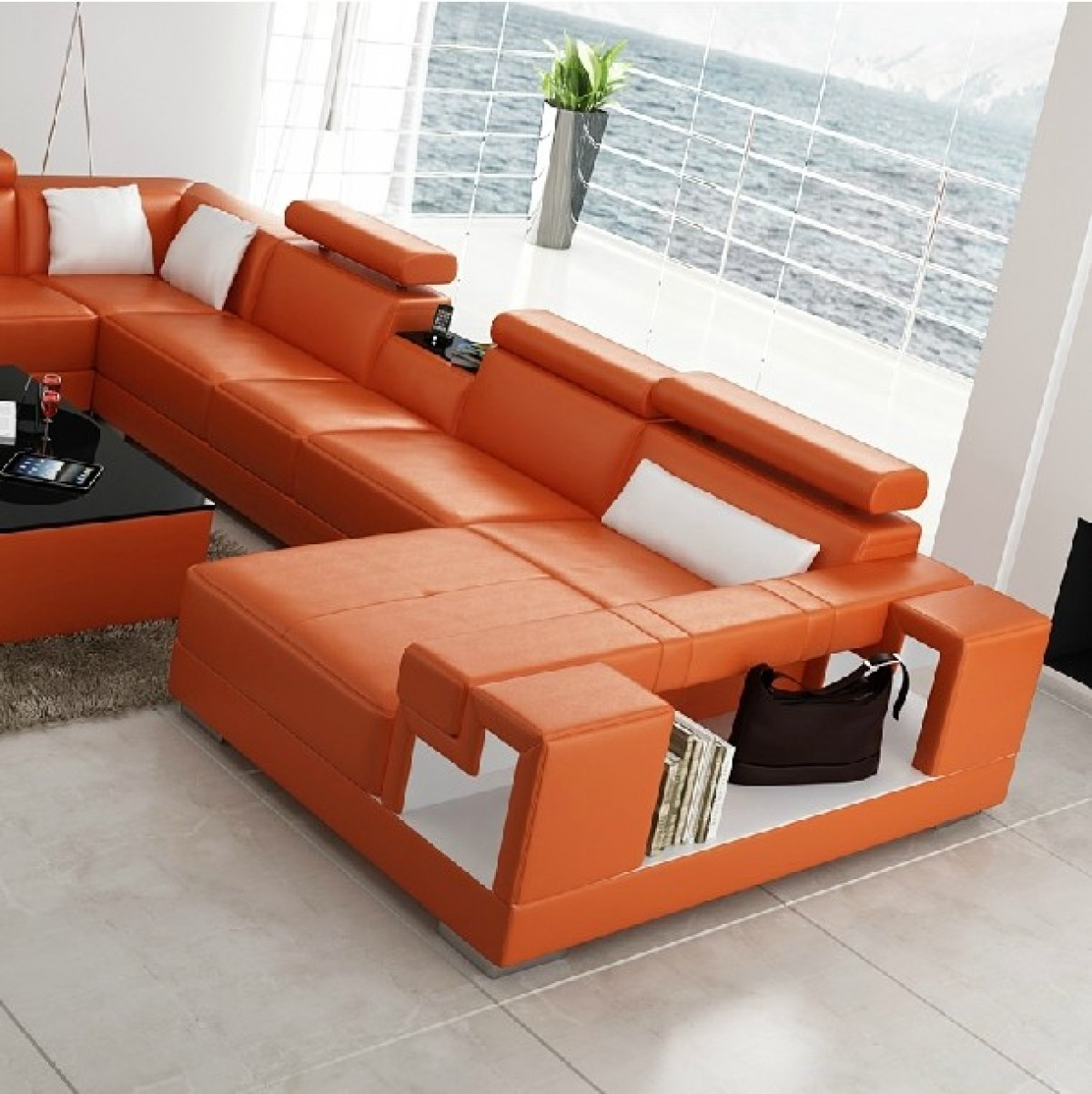 Divani Casa 6138 Modern Orange And White Bonded Leather