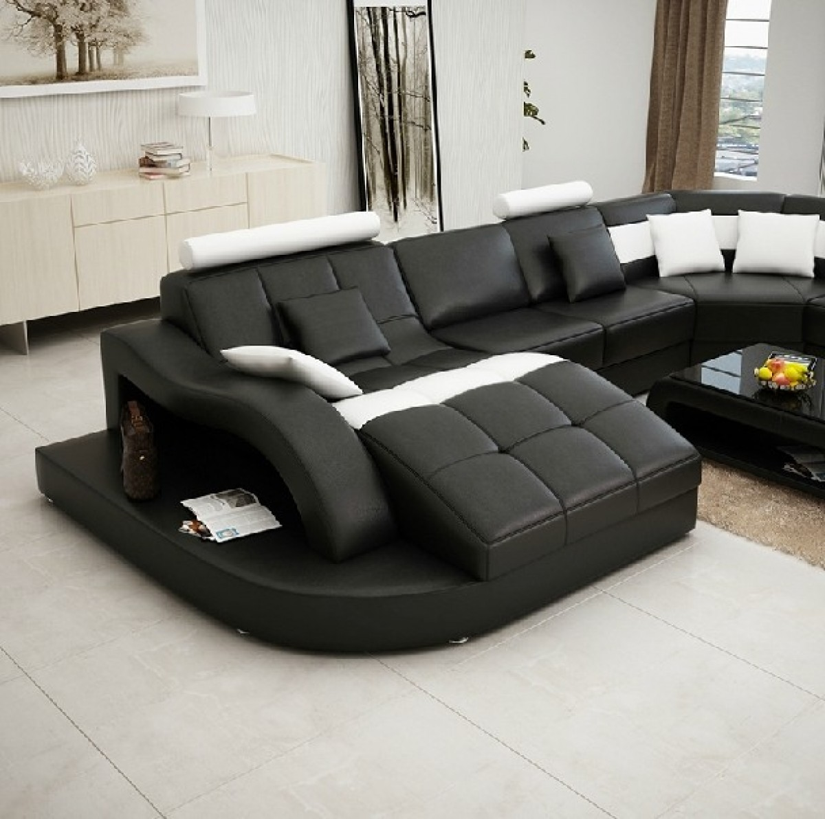Divani Casa 6140 Modern Black And White Bonded Leather
