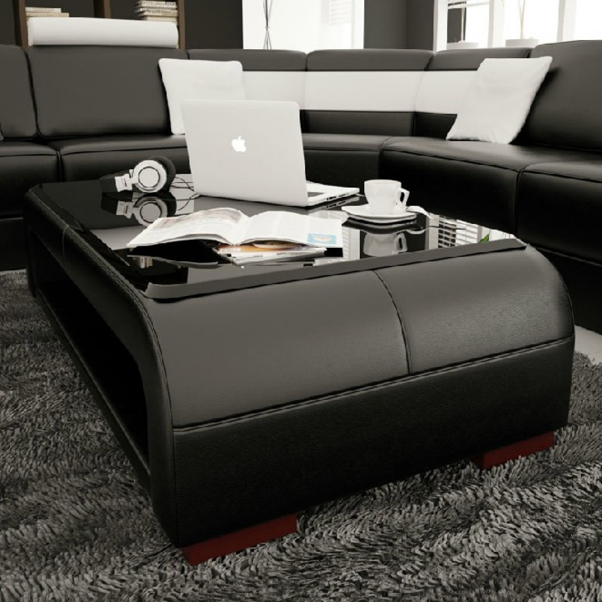Divani Casa Ev30 Modern Black Bonded Leather Coffee Table