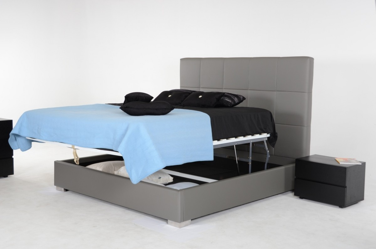 Modrest Messina - Modern Grey Eco Leather Bed with Lift ...